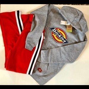 Juniors Dickies hoodie and planet gold sweats.